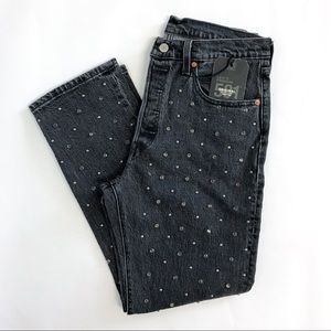 Levi's Premium 501 Cropped Studded Jeans. Size 30